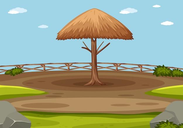 公園の木製傘のシーン