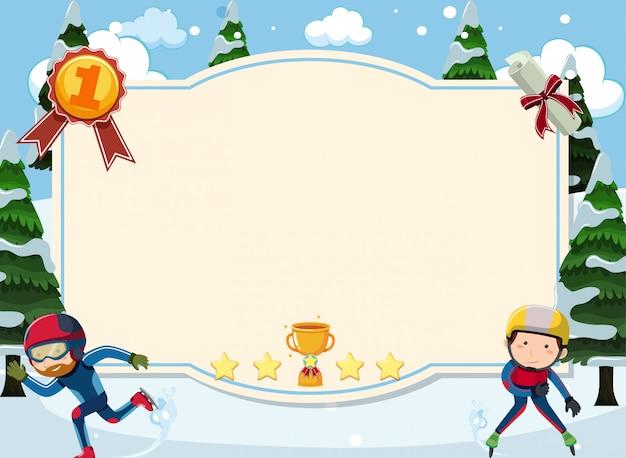 Шаблон баннера с двумя людьми, катание на коньках в снегу