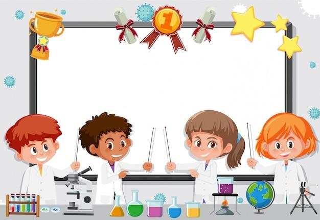 実験室で働く科学の学生とバナーテンプレート