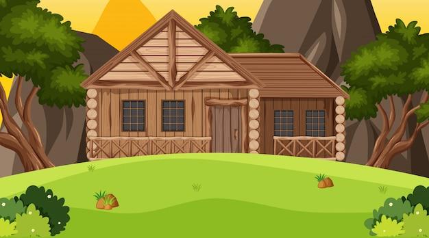 Сцена с деревянным коттеджем в поле
