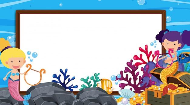 Шаблон границы с подводной сценой