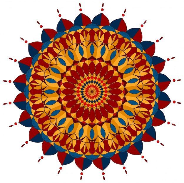 Мандала дизайн в красных и синих тонах