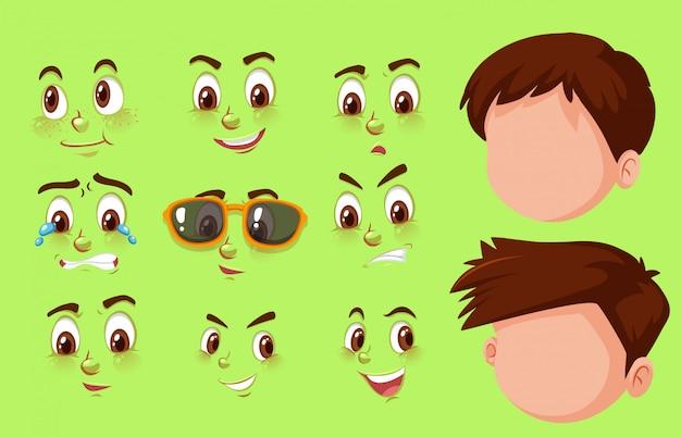 人間の頭と顔の異なる表現のセット