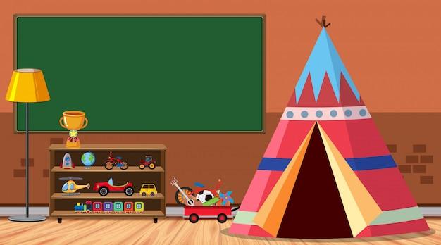 テントとたくさんのおもちゃのある部屋