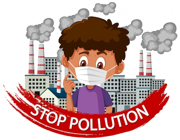 マスクを身に着けている少年と停止汚染のポスターデザイン