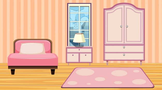 ピンクの家具とカーペットのある部屋