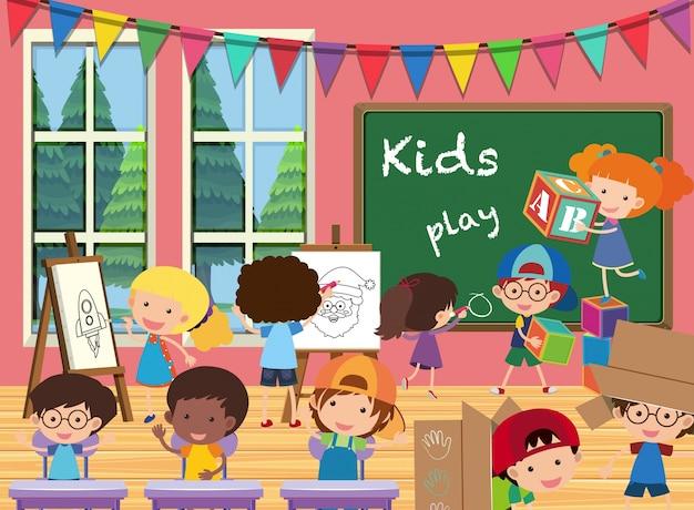 教室の多くの子供たち