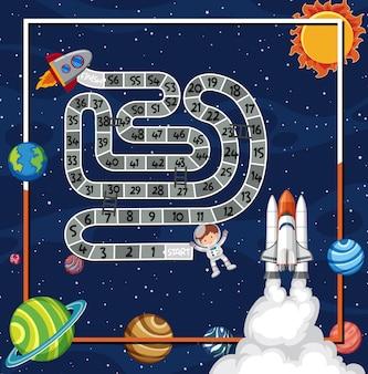 Шаблон игры с космическим кораблем, летящим в космосе