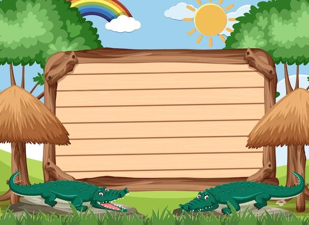 公園で野生のワニと木製看板テンプレート