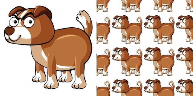 茶色の犬とのシームレスなパターン