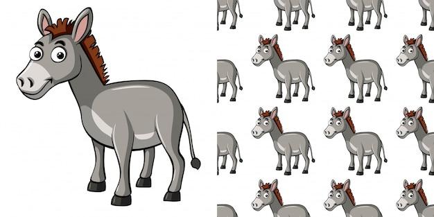 灰色のロバとのシームレスなパターン