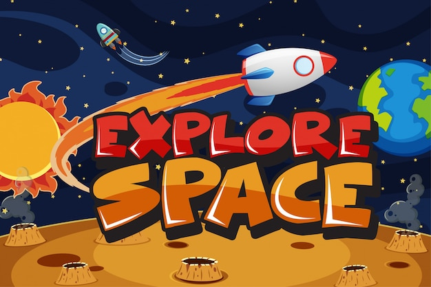 宇宙を飛んでいる宇宙船のポスター