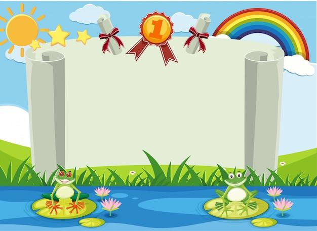 Шаблон баннера с двумя лягушками в реке