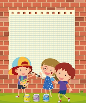 壁に子供の絵を描くボーダーテンプレート