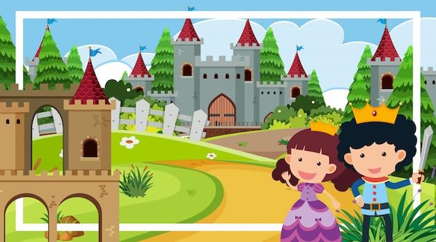 Сцена с принцем и принцессой у башни замка