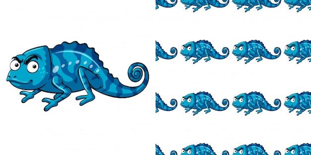 青いカメレオンとのシームレスなパターン