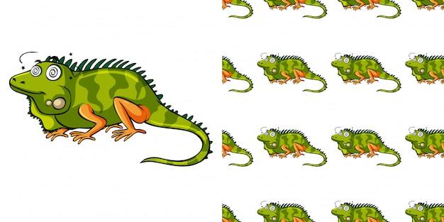 緑のトカゲとのシームレスなパターン