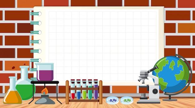 Шаблон границы с научным оборудованием в лаборатории