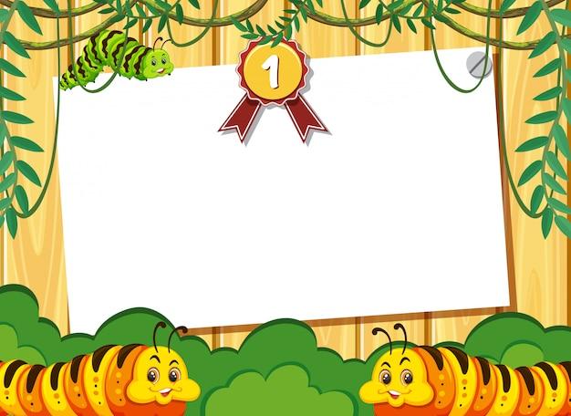 Шаблон баннера с гусеницами в джунглях