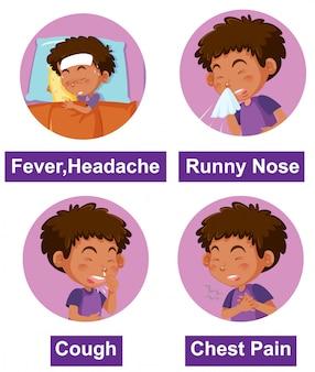 Набор различных симптомов с больным мальчиком
