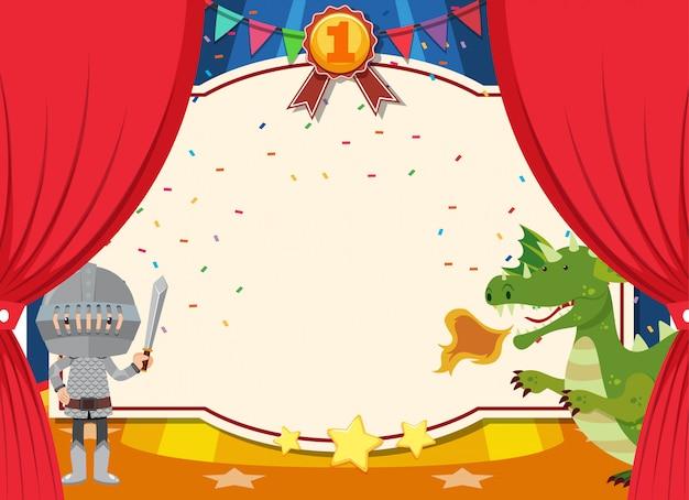 Шаблон баннера с рыцарем и драконом на сцене