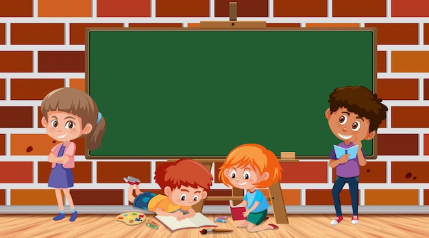 本を読む子供と枠線テンプレート