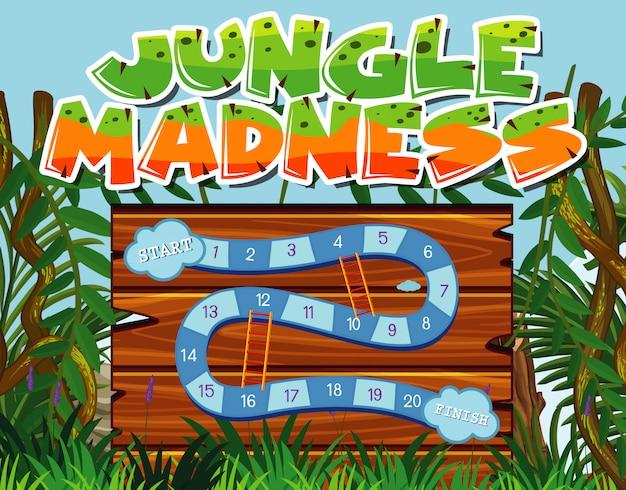 Шаблон игры с множеством деревьев в джунглях