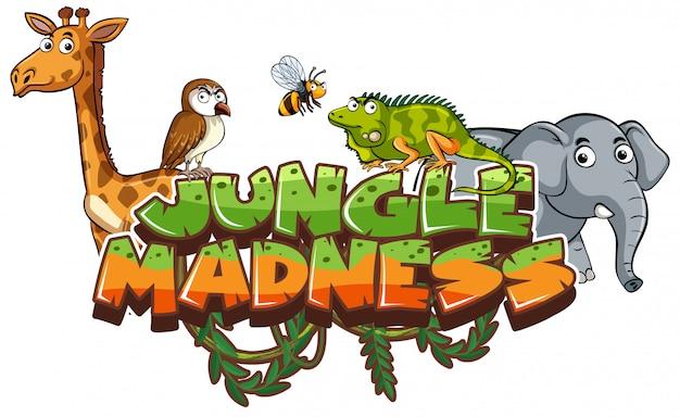 Шрифт слова джунглей безумие с дикими животными