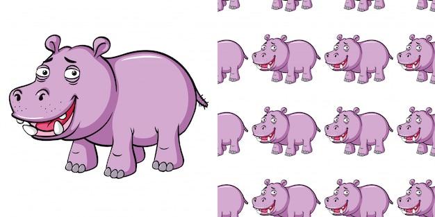 Бесшовный фон с розовым бегемотом