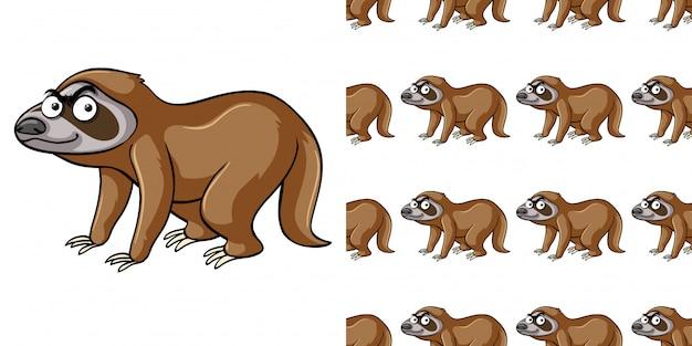 Бесшовный фон с коричневым ленивцем
