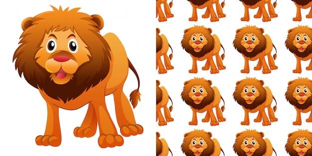 かわいいライオンとのシームレスなパターン