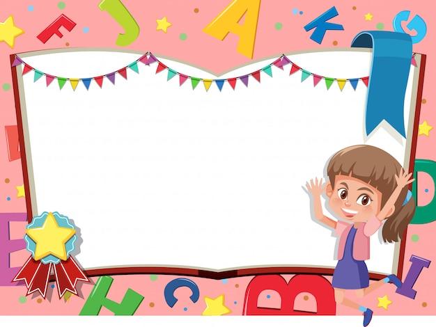 Шаблон баннера со счастливой девочкой и алфавитом