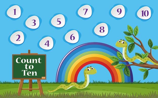 Номер один-десять с голубым небом и красочным фоном радуги