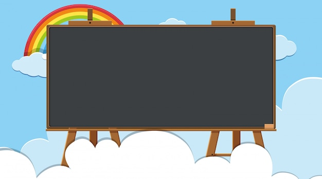 空を背景に虹と枠線テンプレート