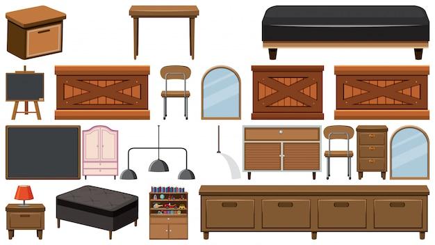 Большой набор деревянной мебели на белом