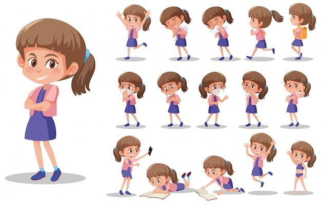 白い背景の異なる表現を持つ子供キャラクターのセット