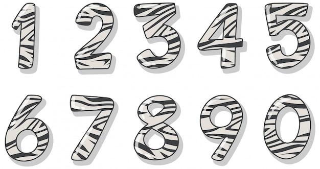 Дизайн шрифта для номера один до нуля на белом фоне