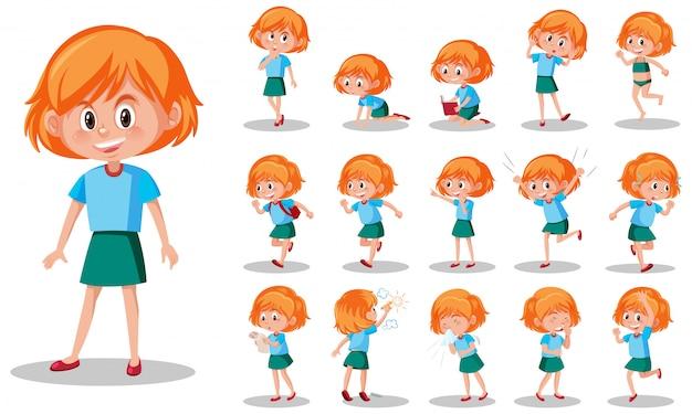 Набор детский характер с разными выражениями на белом фоне