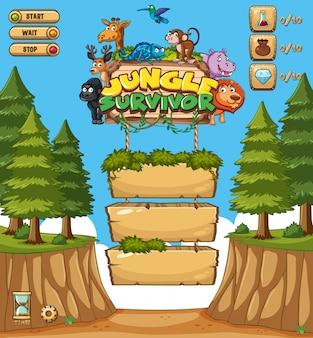 Дизайн шаблона игры с деревьями на фоне леса
