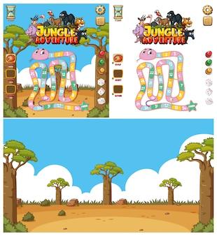 フィールドの動物とコンピューターゲームの背景デザイン