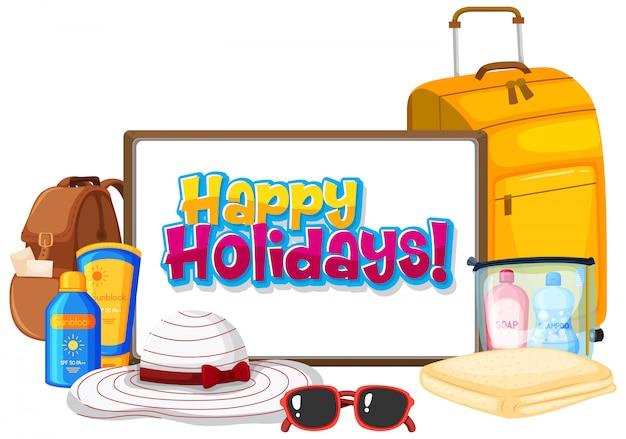 Шаблон дизайна шрифта для слова счастливых праздников с летними элементами
