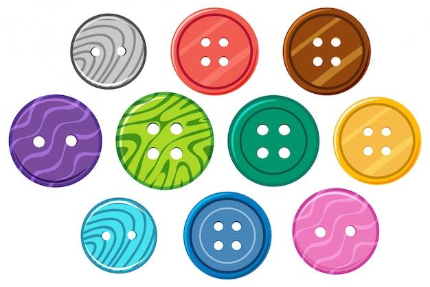 Набор различных узоров на круглых пуговицах