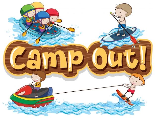 ウォータースポーツをしている子供たちと一緒に単語キャンプのフォントデザイン