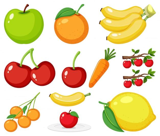 Большой набор разных видов фруктов на белом фоне