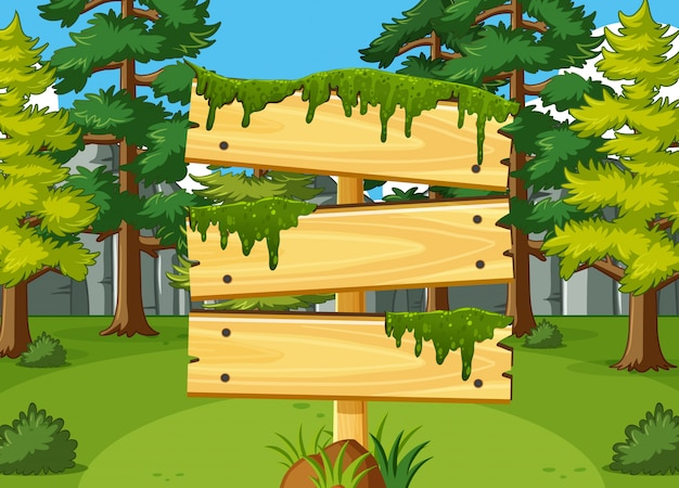 バックグラウンドでフォレストと木製看板テンプレート