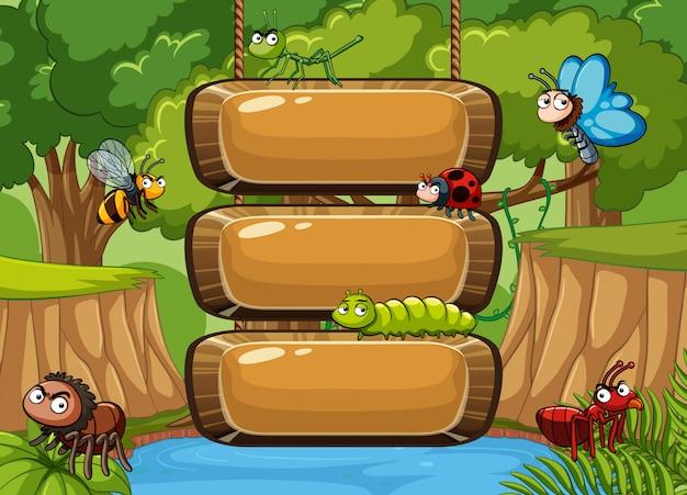 森のバックグラウンドで多くの昆虫の木製看板テンプレート