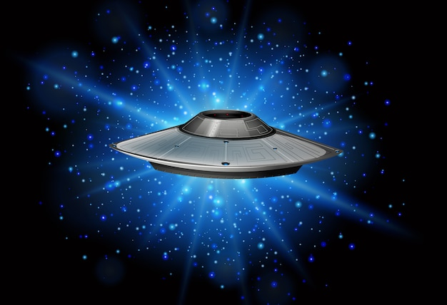 Сцена с космическим кораблем, летящим в темной галактике
