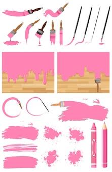Различный дизайн акварели в розовом на белом фоне
