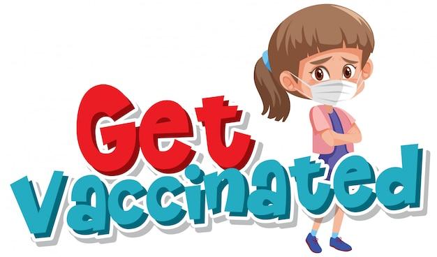 単語とコロナウイルスのポスターデザインは予防接種を受ける