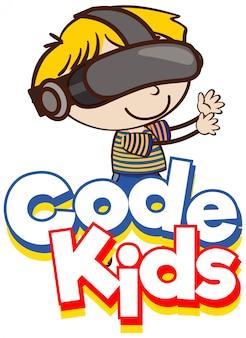 ゴーグルを身に着けている子供を持つ単語コード子供のためのフォントデザイン